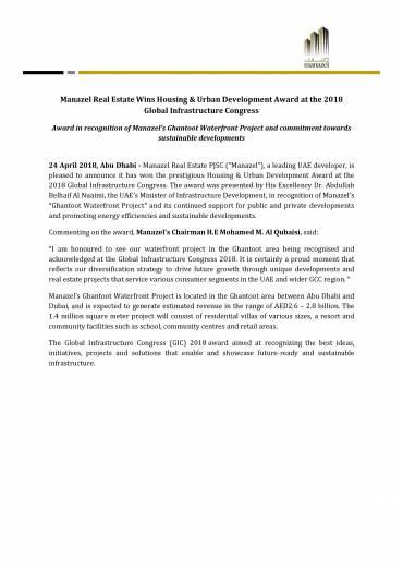 Manazel Real Estate Wins Housing & Urban Development Award at the 2018 Global Infrastructure Congress